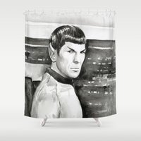 spock Shower Curtains featuring Spock by Olechka