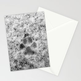 Paw Print in Snow Stationery Cards
