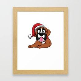 Cute Christmas Dog Cap Gift Idea Framed Art Print