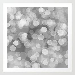 Black and White Silver Bokeh Art Print