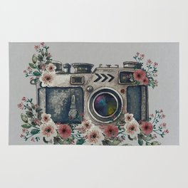 Camera with Summer Flowers Rug