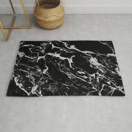 Modern silver black marble pattern Rug