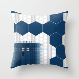 Tardis Art Blue Box Shadow Throw Pillow