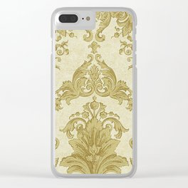 Gold Cream Paisley Floral Pattern Clear iPhone Case