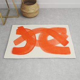 Mid Century Modern Abstract Painting Orange Watercolor Brush Strokes Rug