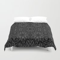 gray pattern Duvet Covers featuring Slate Gray Black Pattern by 2sweet4words Designs
