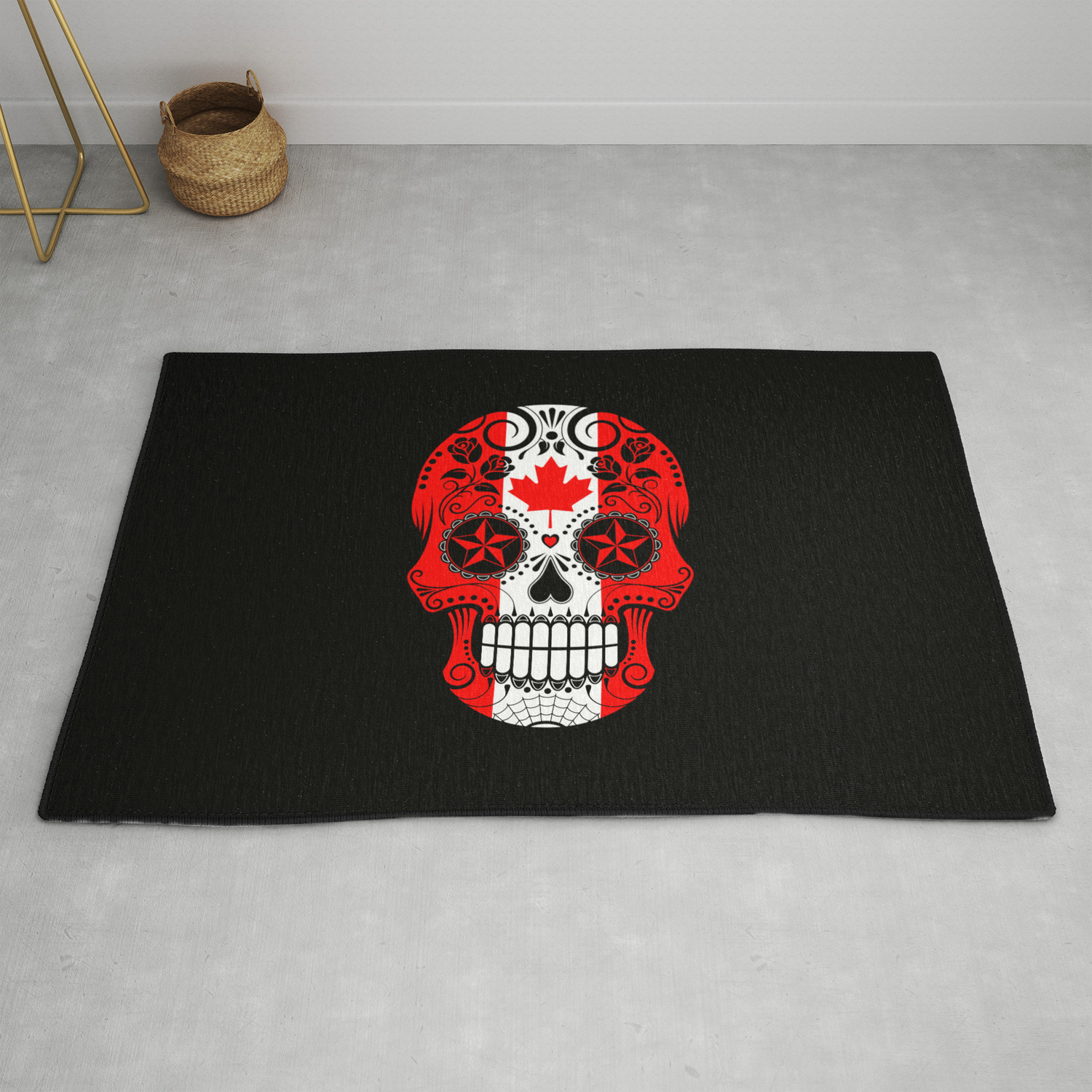Sugar Skull With Roses And Flag Of