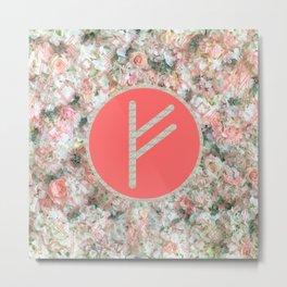 Rune Fehu rose petals Metal Print