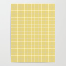 Buff - beije color - White Lines Grid Pattern Poster