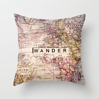 not all who wander Throw Pillows featuring wander by Sylvia Cook Photography