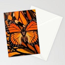 ORANGE MONARCH BUTTERFLY PATTERNED ARTWORK Stationery Cards
