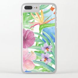 Malia's Tropical Print Clear iPhone Case