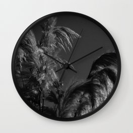 black and white country pond plants Wall Clock