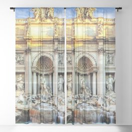 Trevi Fountain and Pool - Rome, Italy Sheer Curtain