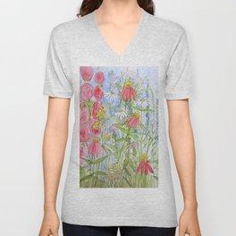 Watercolor Garden Flowers Summer Botanical Illustration Unisex V-Neck