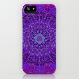 Mandala art drawing design purple fuchsia periwinkle iPhone Case