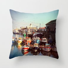 Boats resting in the Harbour Throw Pillow