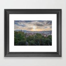 Malaga cityscape at sunset Framed Art Print