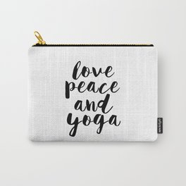 Girls Room Decor,GYM Print,Workout Poster,Love Peace And Yoga,Fitness Decor,Typography Print, Carry-All Pouch