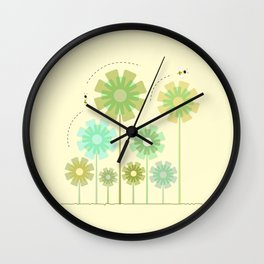 Blooming Flowers and Honey Bees Wall Clock