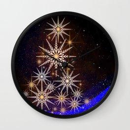 Christmas Eve Winter Xmas Tree Lights Celebration Wall Clock