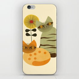 Lovely Cats with Sunflower iPhone Skin