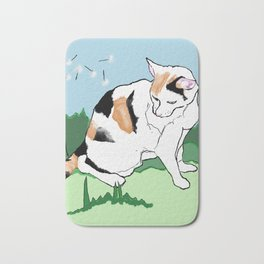 Calico Cat and Dandelion Bath Mat