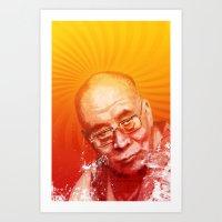 lama Art Prints featuring DALAI LAMA by michael pfister