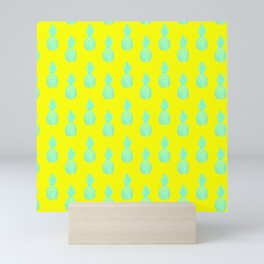 baby blue pineapples on yellow background seamless pattern design Mini Art Print