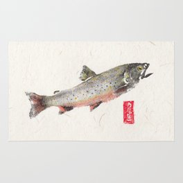 Brook Trout in Spawning colors-Gyotaku Rug
