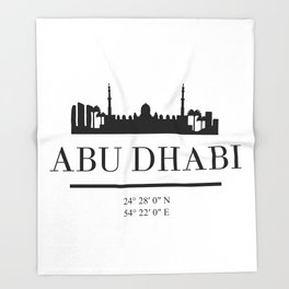 ABU DHABI UAE BLACK SILHOUETTE SKYLINE ART Throw Blanket