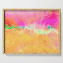Modern Pastel Rainbow Cascade Abstract Serving Tray