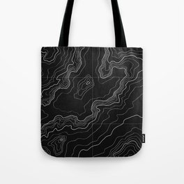 Black topography map Tote Bag