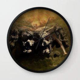 Warrior mind control fantasy magic illustration Wall Clock
