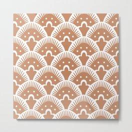 Fan Pattern Beige Metal Print