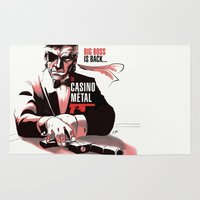 metal gear Area & Throw Rugs featuring METAL GEAR: Casino Metal by JoPruDuction Art