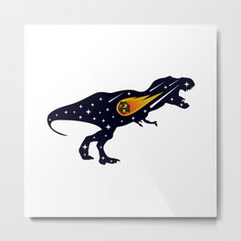 Dinosaur and meteorite strike #society6 #decor #buyart #artprint Metal Print