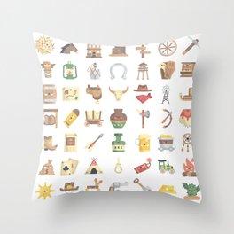 CUTE WILD WEST / COWBOY PATTERN Throw Pillow