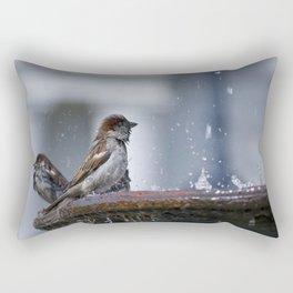 Bathing Sparrows Rectangular Pillow