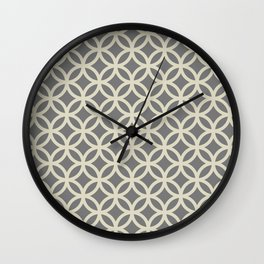 Circle Pattern - grey and beige Wall Clock