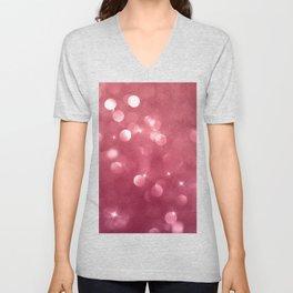 Elegant glam burgundy red bokech glitter gradient  Unisex V-Neck