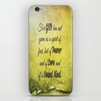 scripture iPhone & iPod Skins featuring Scripture 2 Timothy 1:7 by bjcarrigan