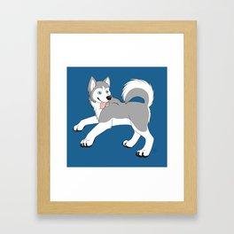 Husky (Silver and White) Framed Art Print