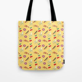 Modern yellow red fruit pizza sweet donuts food pattern Tote Bag