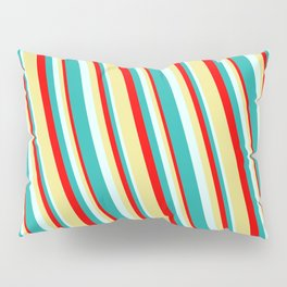 Red, Tan, Light Cyan, and Light Sea Green Colored Lined/Striped Pattern Pillow Sham