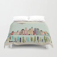 minnesota Duvet Covers featuring visit minneapolis minnesota by bri.buckley