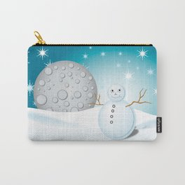 Snowman and moon at night Carry-All Pouch