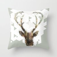 architect Throw Pillows featuring Deer Architect by Angelo Cerantola