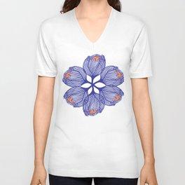 Blue spiral flower Unisex V-Neck