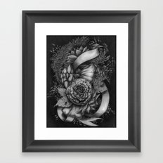 Peony and succulents Framed Art Print